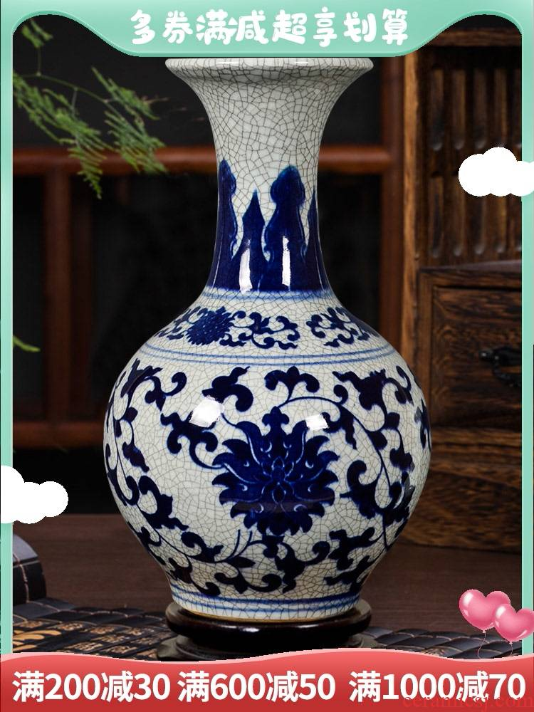 Archaize of jingdezhen ceramics up with blue and white porcelain vase Chinese style living room home decoration flower arranging rich ancient frame furnishing articles