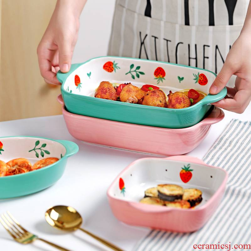 Creative ears ceramic plate round baked cheese paella oven steamed egg bowl of red sun type of household a rectangle