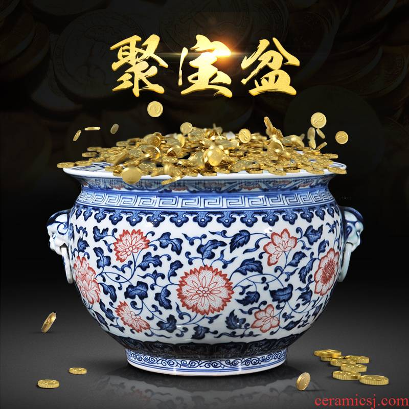 Jingdezhen blue and white ceramics refers to basin of water shallow ear tortoise tank furnishing articles writing brush washer from new Chinese style living room decoration