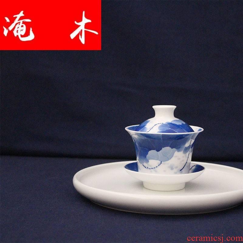 "Submerged wood ""little sister studio"" jingdezhen blue and white FenShui high temperature ceramic tureen tea lotus three only"