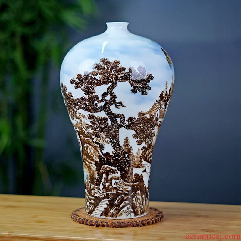 Jingdezhen ceramics hand - made guest - the greeting pine table flower vase home sitting room adornment rich ancient frame furnishing articles