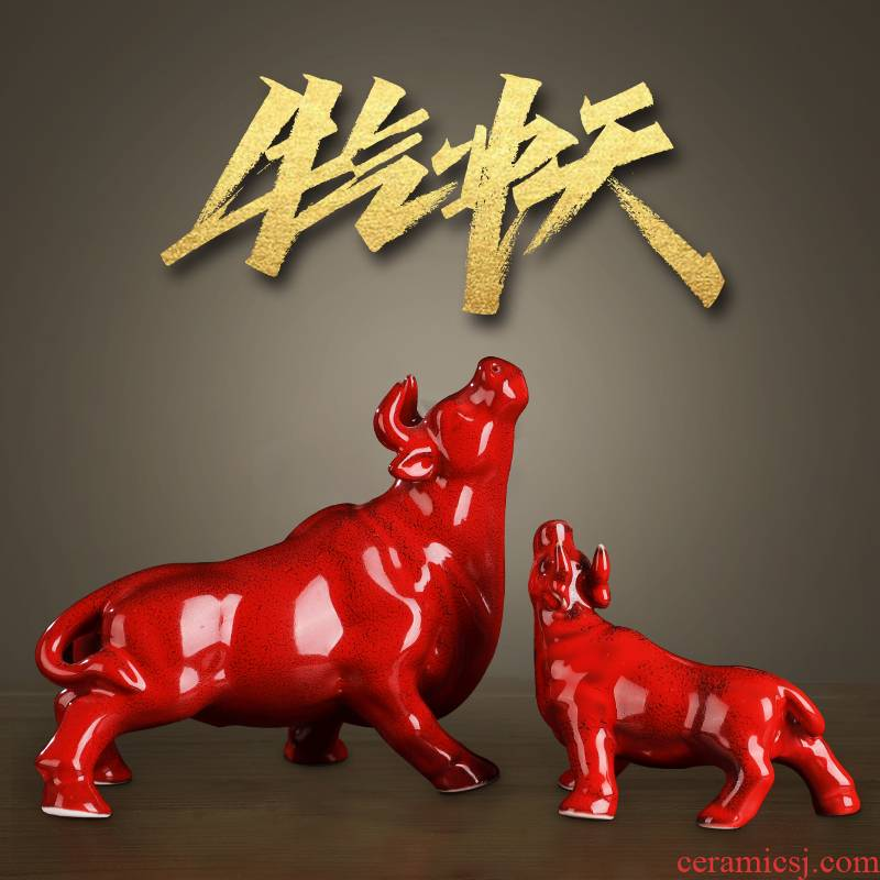 Luck ceramic large red bull furnishing articles like the rainbow cattle sitting room adornment handicraft igniting the year of the ox opening gifts