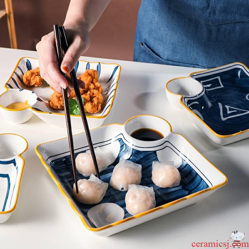 As snacks Japanese ceramic dumpling dish steamed stuffed bun steamed dumpling steamed shrimp breakfast dribbling vinegar dish sushi plate dip disc
