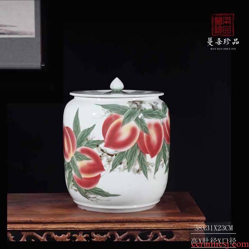 Jingdezhen hand - made xiantao porcelain rice pot bright red porcelain decorative vegetable oil, tea oil, porcelain pot xiantao lotus