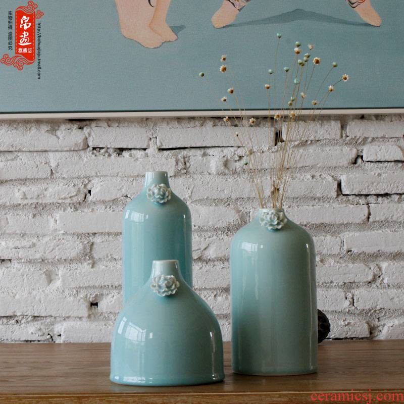 Jingdezhen ceramic dry flower vase place to live in the sitting room porch place shadow green ceramic flower decoration