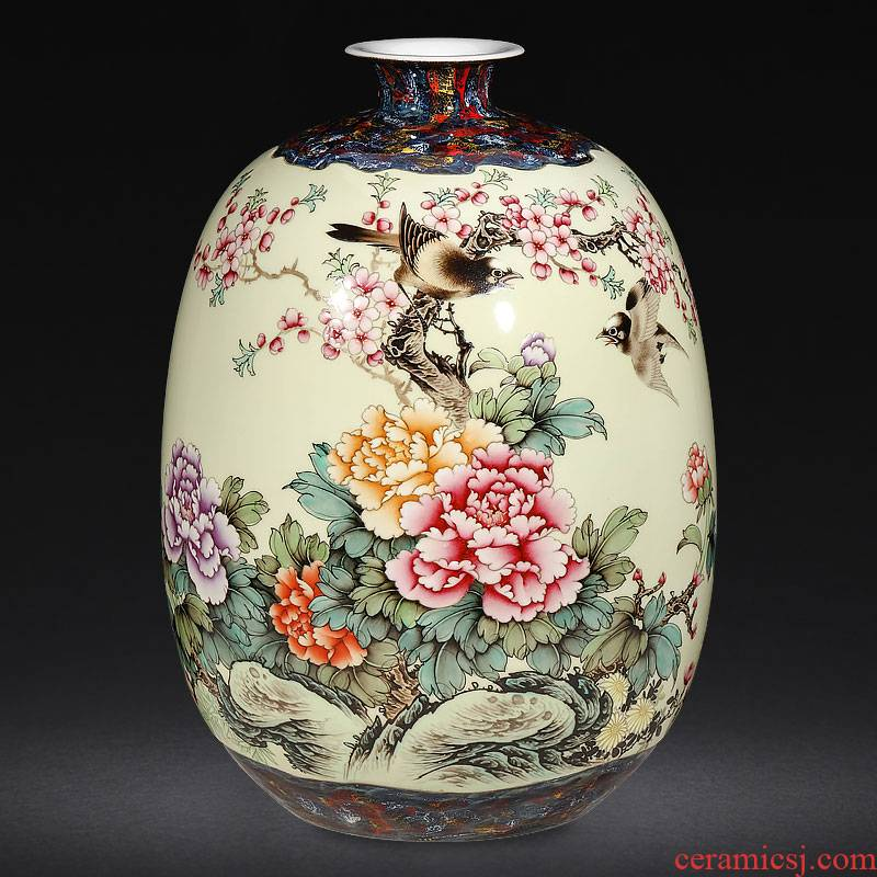 Jingdezhen ceramics famous hand - made enamel vase furnishing articles large Chinese style living room home decoration arts and crafts