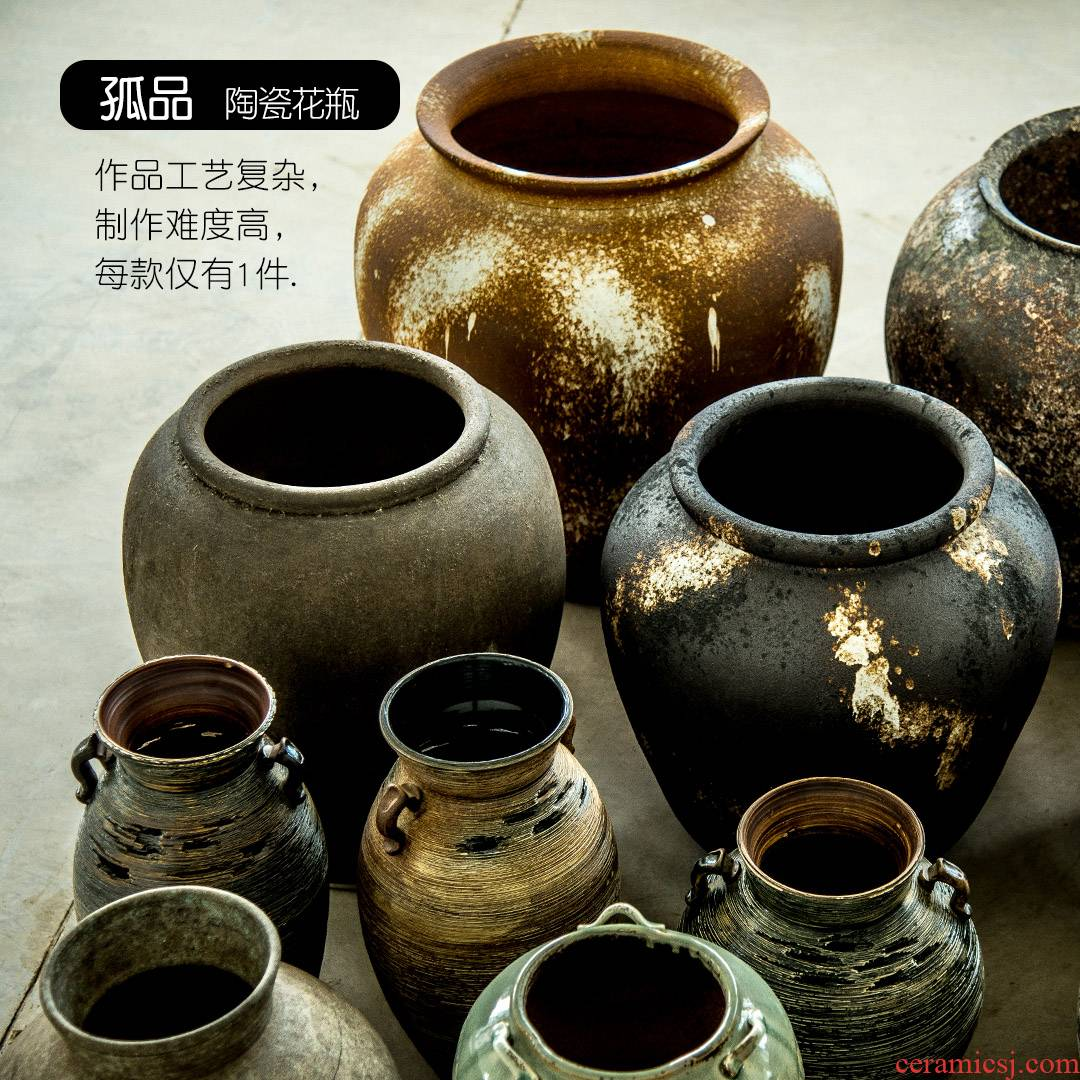 Orphan works manual coarse TaoHua machine dry ceramic vases, ceramic pottery son zen flowerpot restoring ancient ways, fleshy archaize furnishing articles