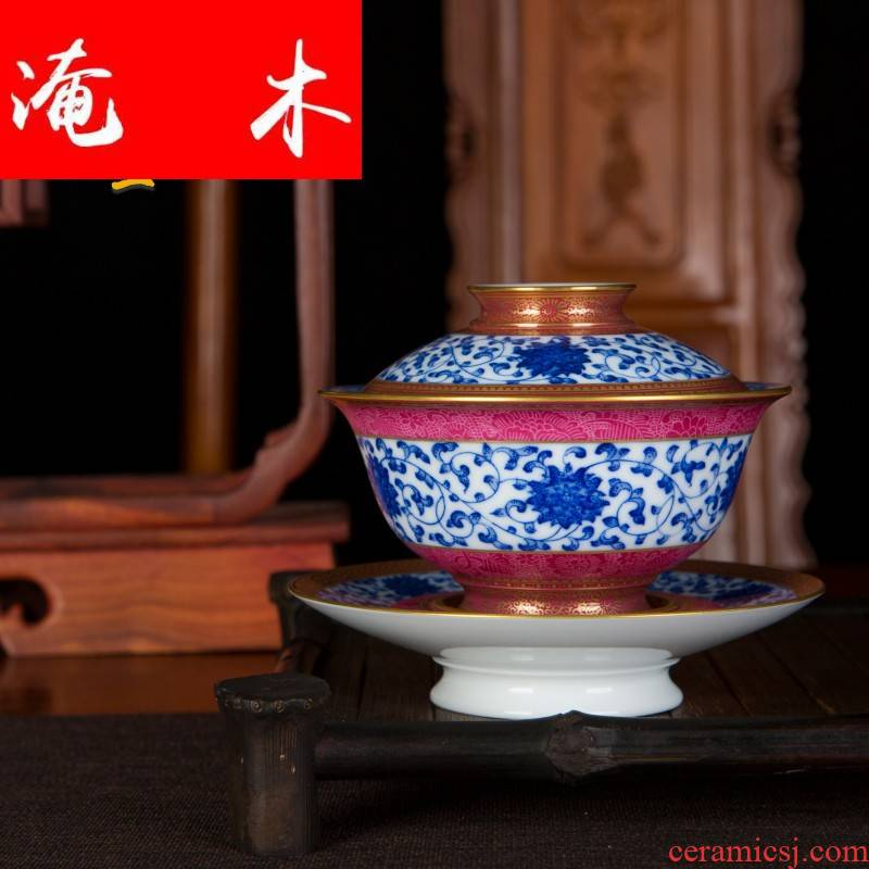 Submerged wood jingdezhen blue and white gold Chinese heavy industry pure hand - made tea set point work pick flowers tureen