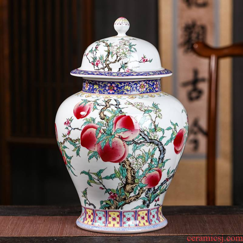 Archaize of jingdezhen ceramics powder enamel nine peach figure storage tank caddy fixings large sealed jar with cover home furnishing articles