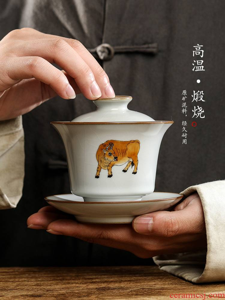 Checking out iron three tureen teacup only protect your up jingdezhen hand - made zodiac cattle ceramic kung fu tea tea bowl