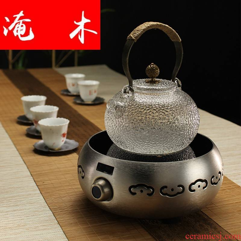 Flooded wooden letter hin hall home tea.mute smart TaoLu glass hammer boiled tea stove no radiation don 't pick the pot