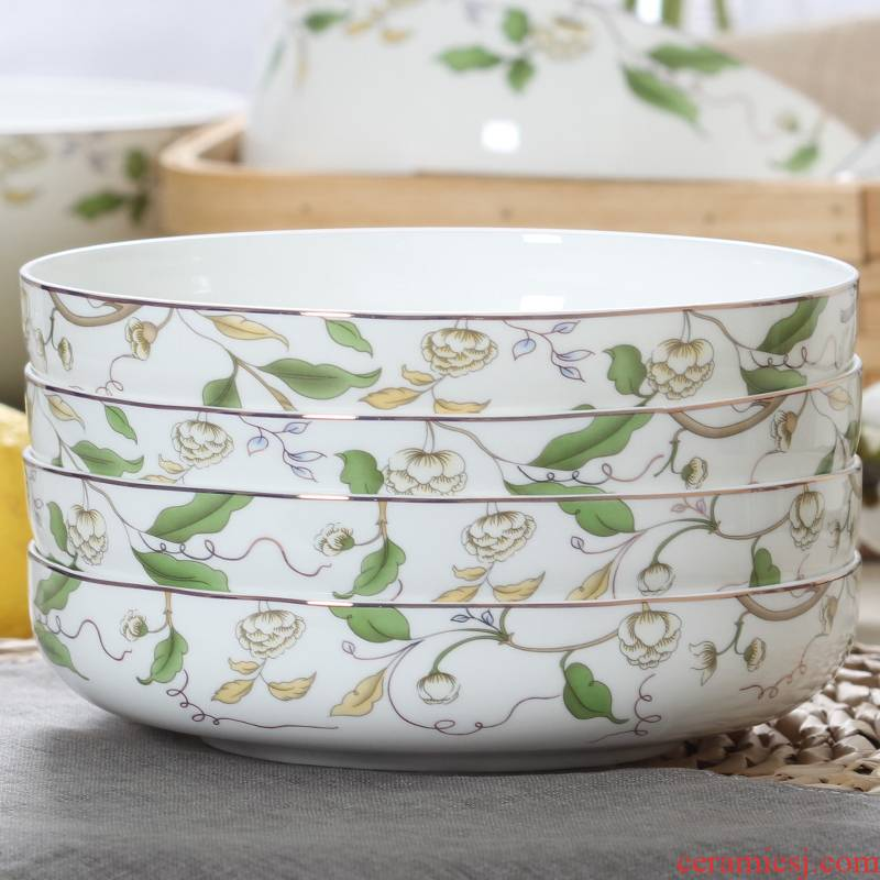 Deepen dishes suit ceramic soup plate FanPan household creative paella nest dish circular plate plate ipads China