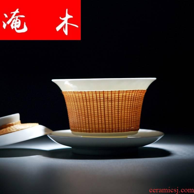 Submerged wood manual tureen jingdezhen ceramic cups all three bowl of bamboo kung fu tea tea accessories porcelain