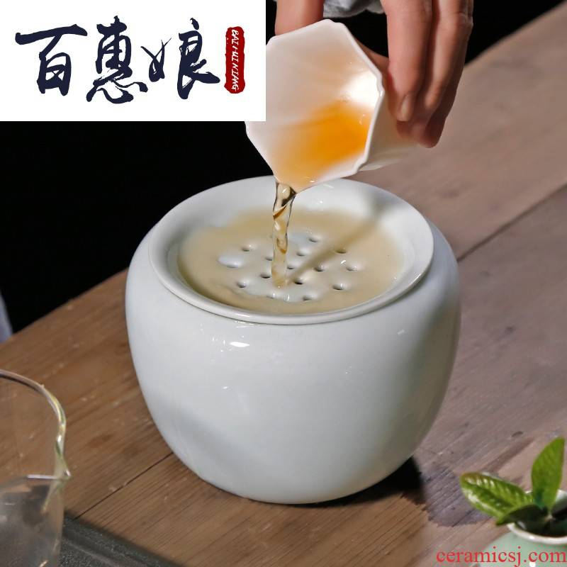 (niang coarse pottery tea wash to zen Japanese cup for wash in hot water, after the barrel built small ceramic water kung fu tea tea taking