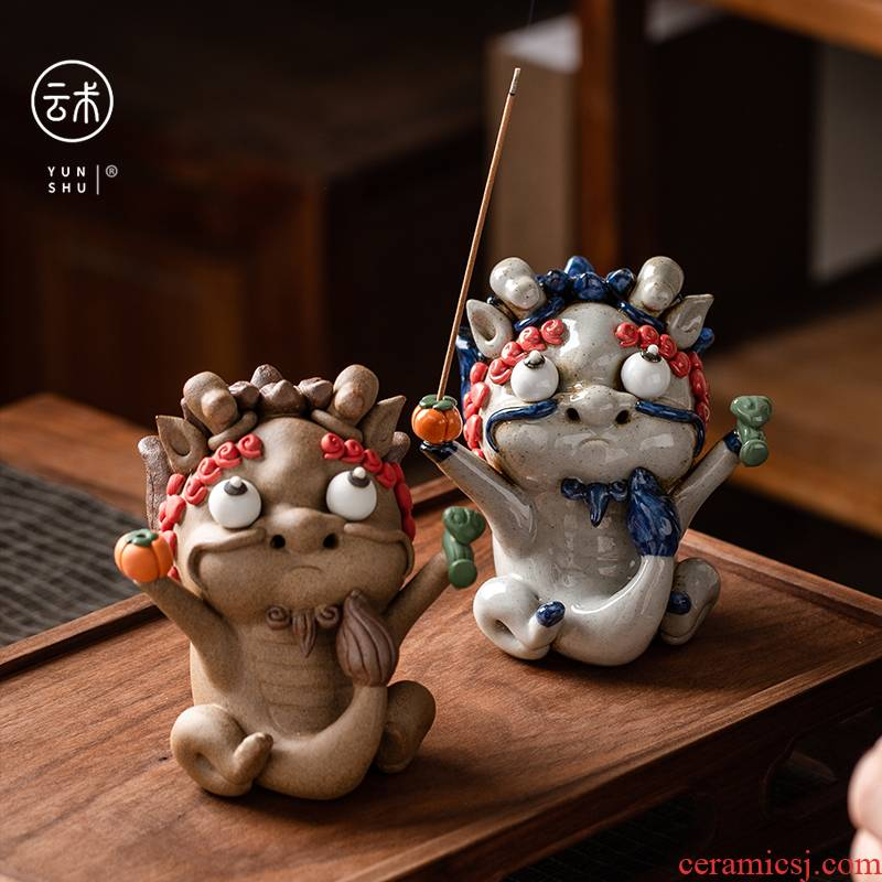 Jingdezhen manual all the best pet place incense inserted kirin tea and tea set decoration accessories boutique gift