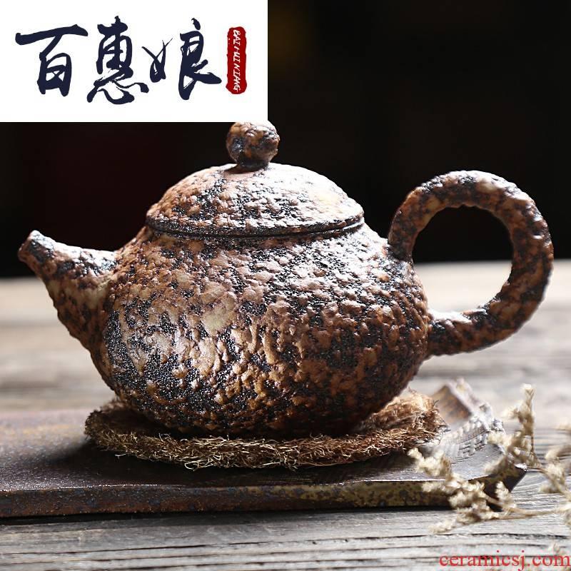 (niang up compensated boring manual pot of kung fu tea set coarse pottery pot pot