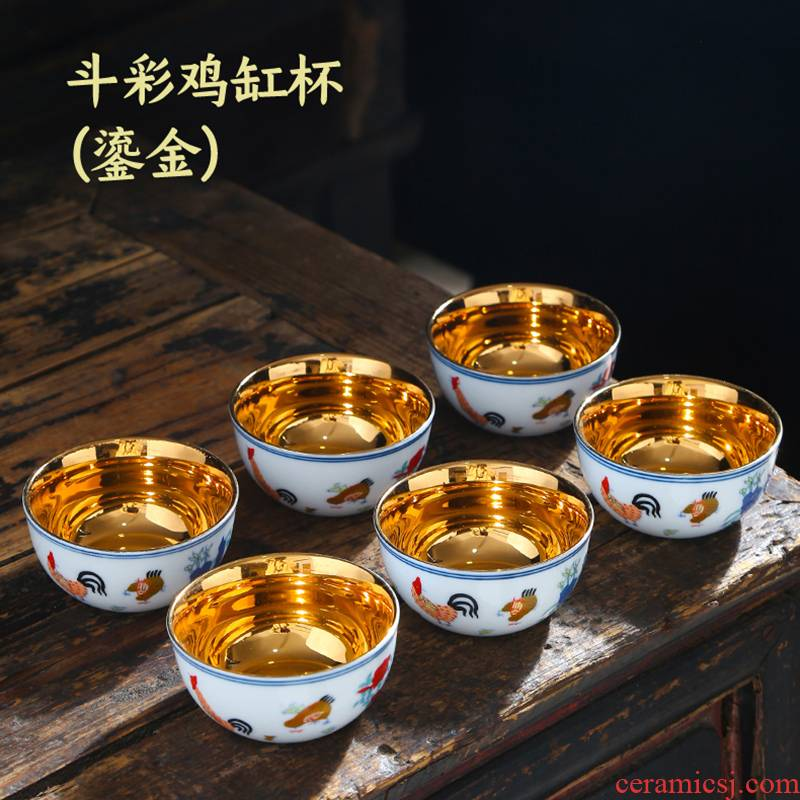 Color bucket cylinder cup chicken white porcelain of jingdezhen ceramics kung fu Ming chenghua cups of tea light to use household single sample tea cup