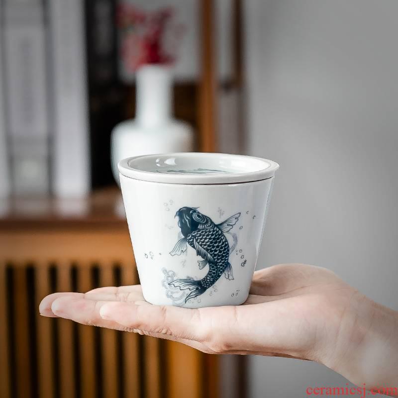 Hui shi fashion Japanese ceramic blade koubei manual kung fu tea sample tea cup cup with cover cup single master CPU