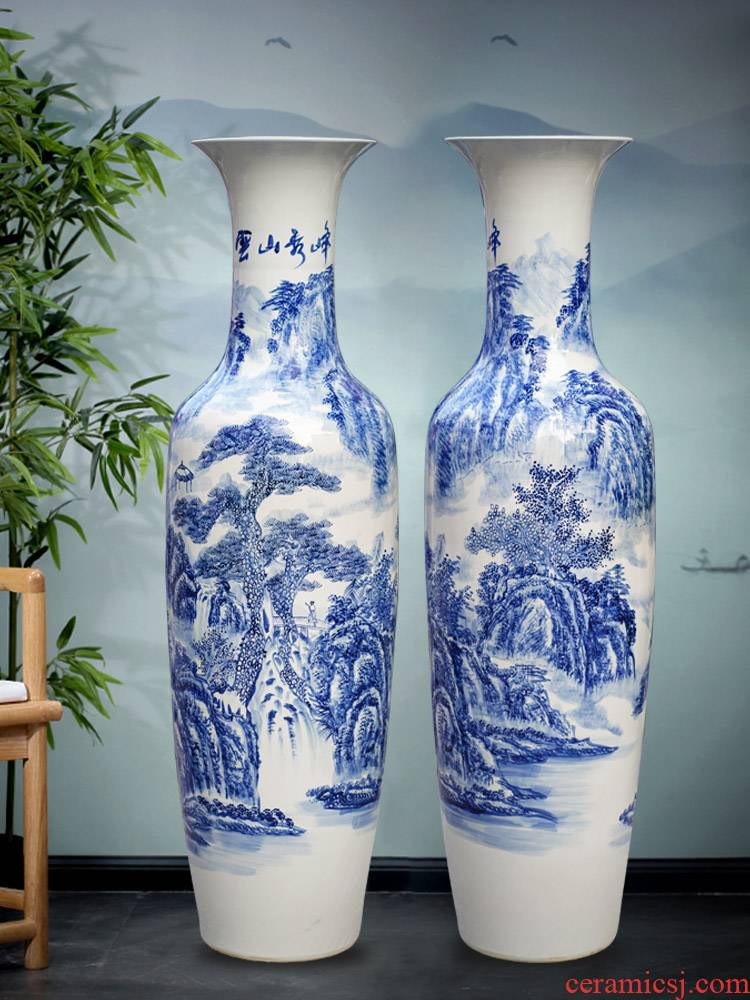 Jingdezhen blue and white porcelain yunshan xiufeng landscape of large vases, furnishing articles home sitting room TV ark, adornment