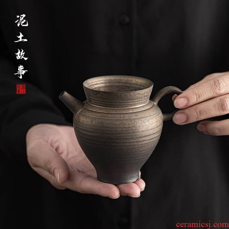 Jingdezhen zen gold glaze checking ceramic thin foetus justice cup and a cup of tea sea kung fu tea tea set points