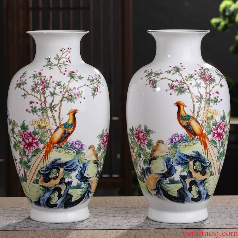 Jingdezhen ceramic powder enamel vase furnishing articles sitting room flower arranging porcelain of a pair of TV ark, the dried flower decoration