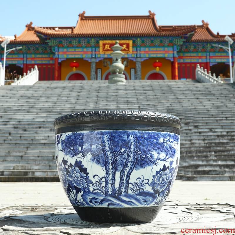 Jingdezhen ceramic goldfish tank creative fish bowl lotus home courtyard large water lily turtle cylinder