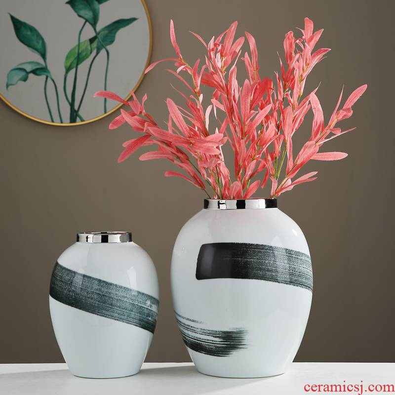 New Chinese style is I sitting room porch light and decoration ceramics vase contracted home furnishing articles set dry flower arranging flowers adornment