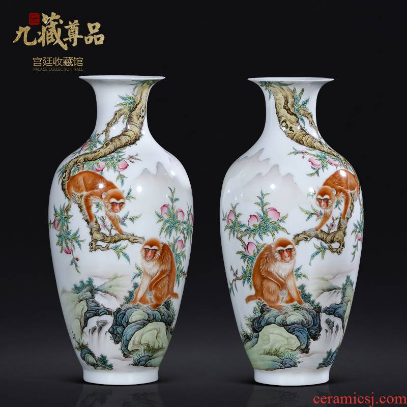 The Teacher handpainted pastel monkey sitting room porch rich ancient frame of new Chinese style decoration vase of jingdezhen ceramics furnishing articles