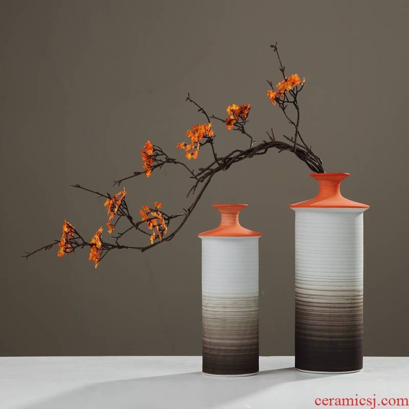 Contracted and I ceramic light zen vase furnishing articles dried flower flower implement new Chinese style key-2 luxury sitting room porch home decoration