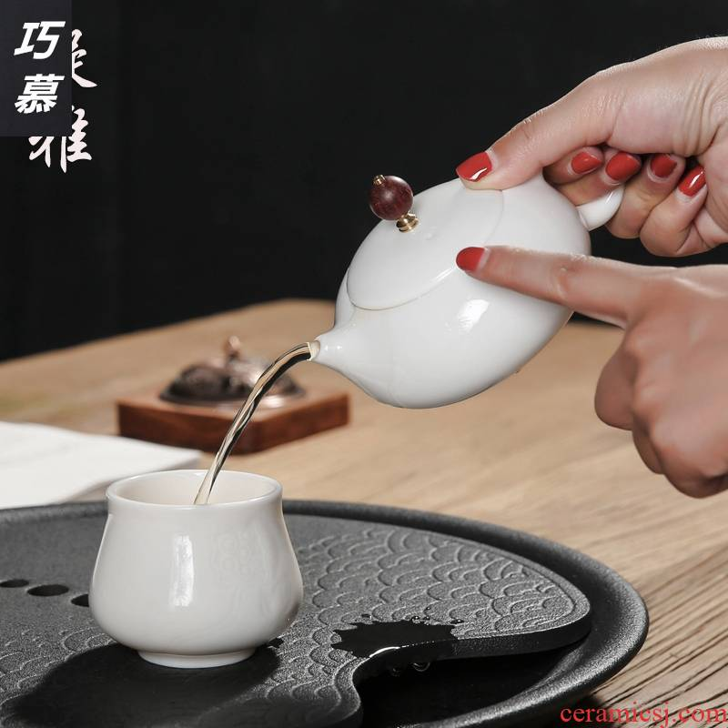 Qiao mu dehua porcelain Chinese white jade teapot ceramic household size to suggest kung fu tea set filter single pot of restoring ancient ways