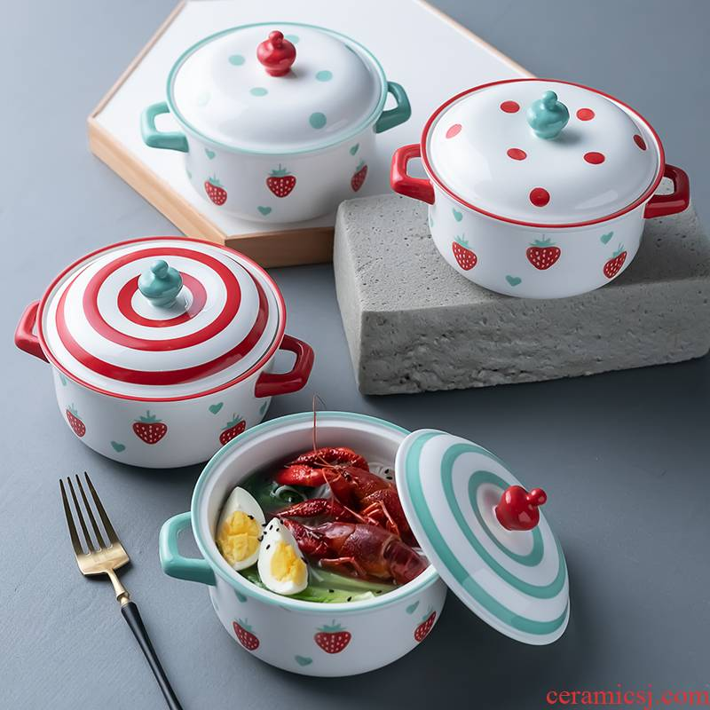 Creative strawberry ceramic bowl household rainbow such as bowl with cover ears mercifully soup bowl and fresh fruit salad bowl bowl