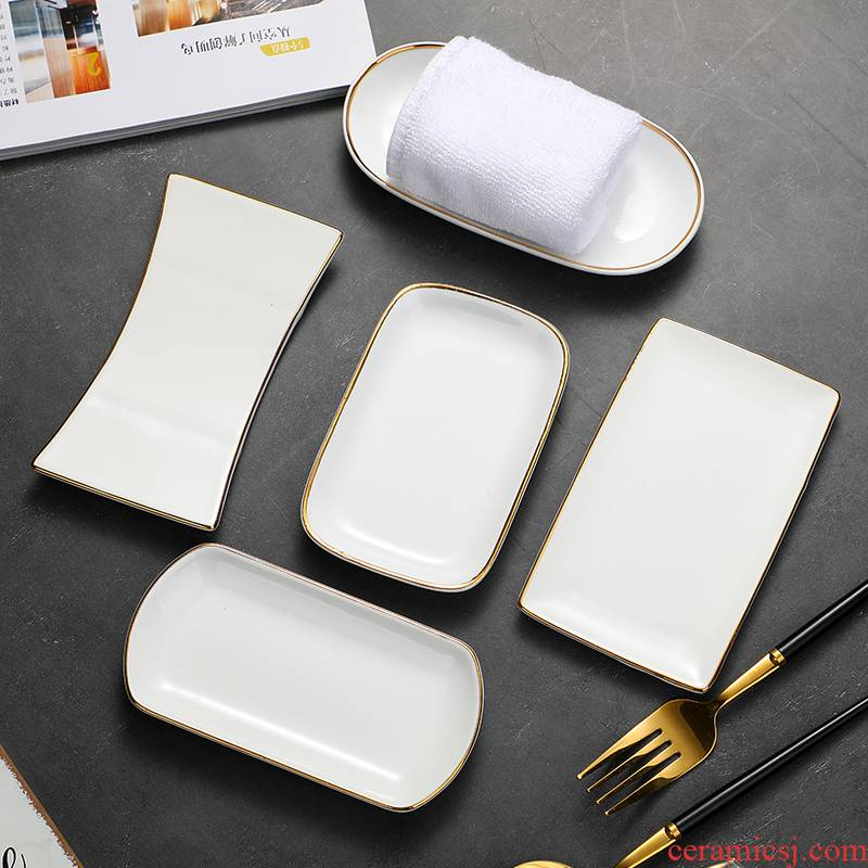 Special ceramic hotel towel plate rectangular tray was oval restaurant wet wipes up phnom penh dish of pure white towel holder