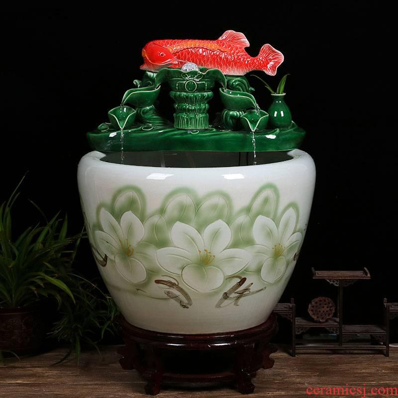 Ceramic tank sitting room ground loop water tank large furnishing articles balcony garden lotus fish bowl
