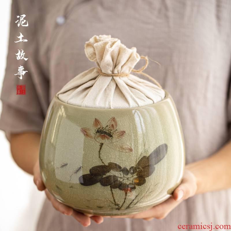 Jingdezhen hand - made ceramic tea lotus home seal pot receives large pack loose tea store tea set