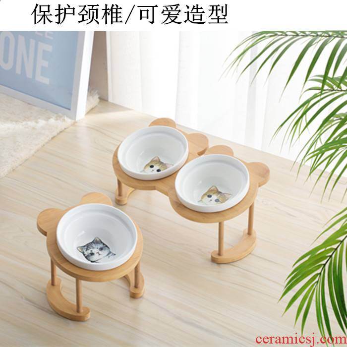 The Cat to use high bean always protect cervical vertebra oblique expressions using the Cat dog always lovely Cat basin ceramic water pet double bowl
