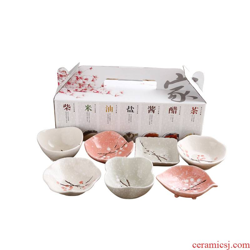Japanese and wind small ceramic household dip vinegar dishes food flavour dish creative lovely soy sauce dish tableware to send hand gift box