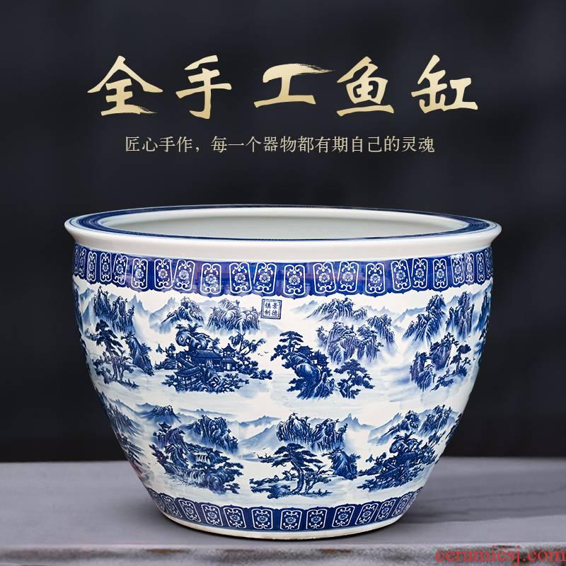 Jingdezhen ceramic blue 1 meter aquarium turtle cylinder goldfish bowl lotus household decorates sitting room small place