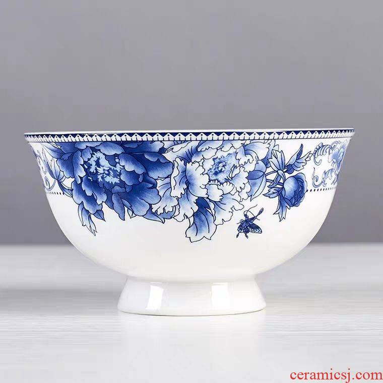 Jingdezhen porcelain ceramic high rice bowls rainbow such use 10 Chinese hot ceramic tableware household microwave proof