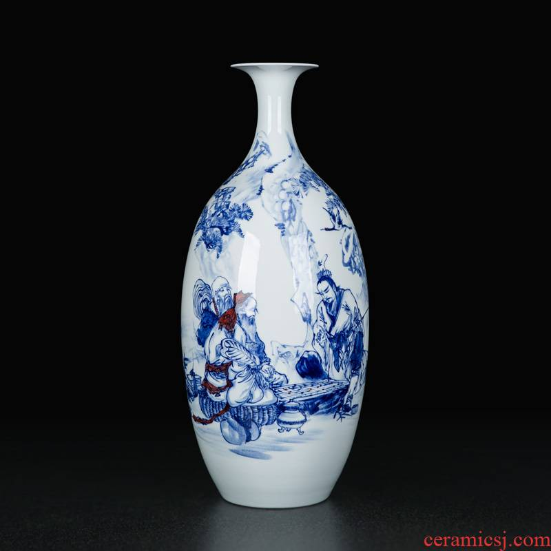 Big jingdezhen blue and white porcelain vase Chinese antique hand - made decorative flower arrangement sitting room desktop furnishing articles ceramics by hand