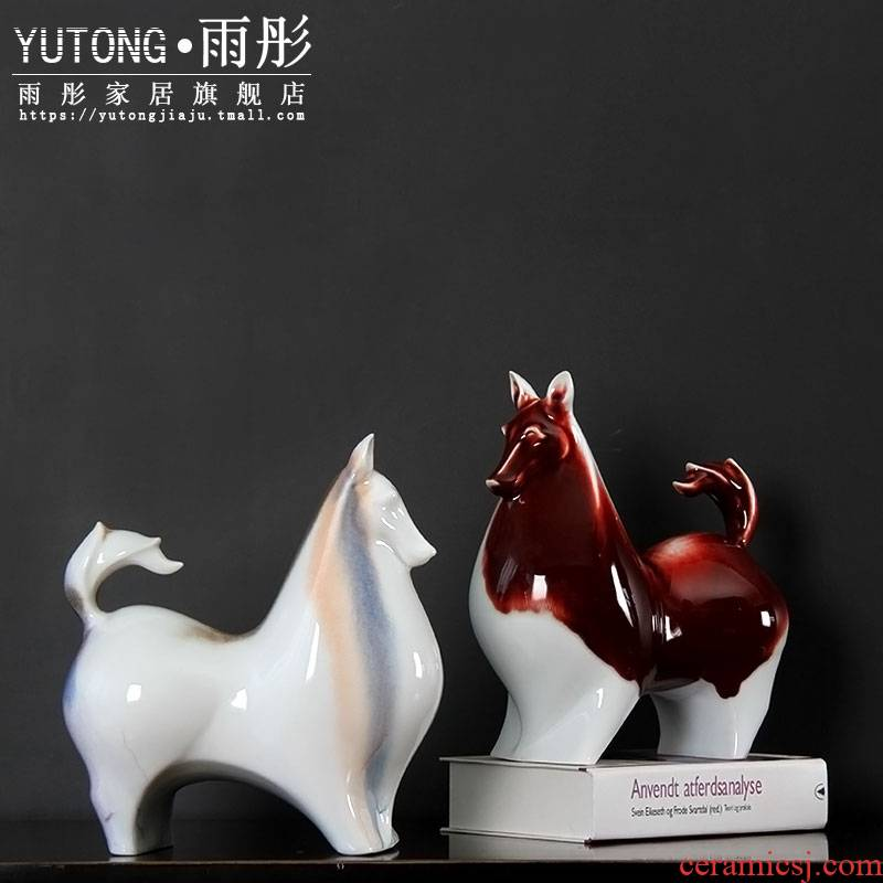 Ceramic dog furnishing articles of new Chinese style household adornment handicraft swing dog household act the role ofing is tasted furnishing articles Ceramic dog