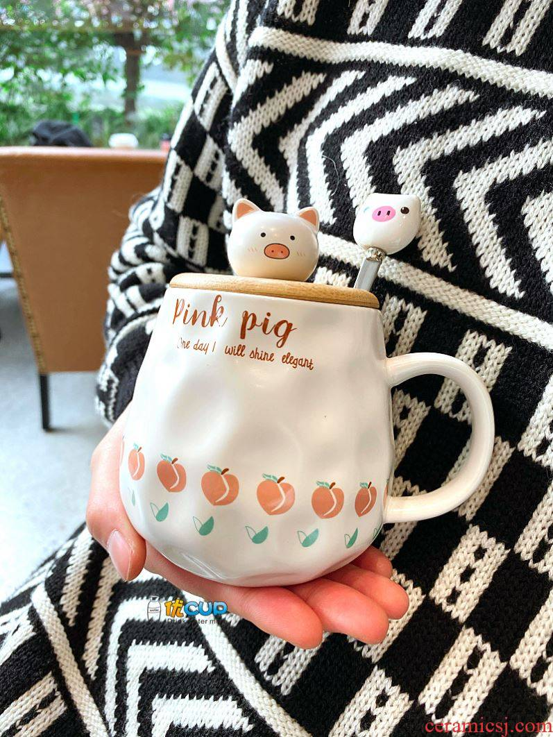 Creative mark cup with cover teaspoons of han edition couples ceramic cup milk cup water girl lovely pig heart of female students