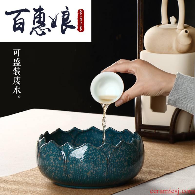 (niang large ceramic tea in hot washing of cups to wash basin of water barrels of household water wash cup jar is built water kunfu tea