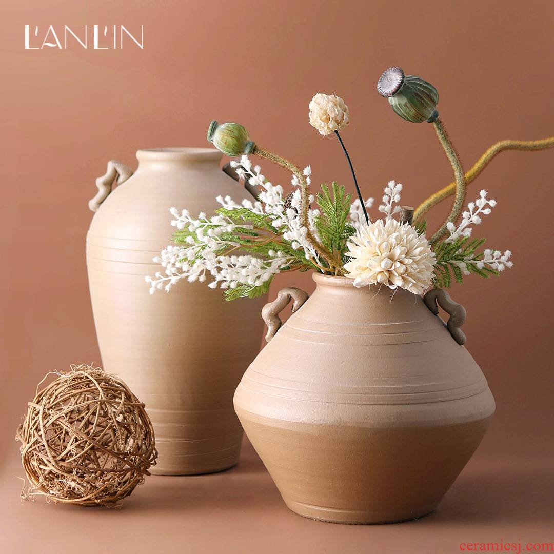 Mesa vase contracted manual coarse pottery dried flowers flower arrangement desktop Chinese style restoring ancient ways zen ideas pottery decorative furnishing articles