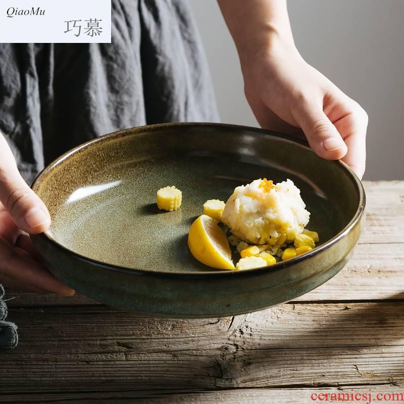 Qiam qiao mu Nordic ceramic soup plate, creative western food dish of salad deep dish household utensils round dish