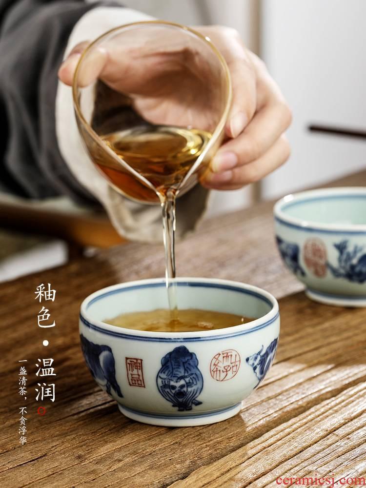 Jingdezhen blue and white master cup single CPU kung fu tea set sample tea cup pure manual single hand - made zodiac WuNiu tea urn