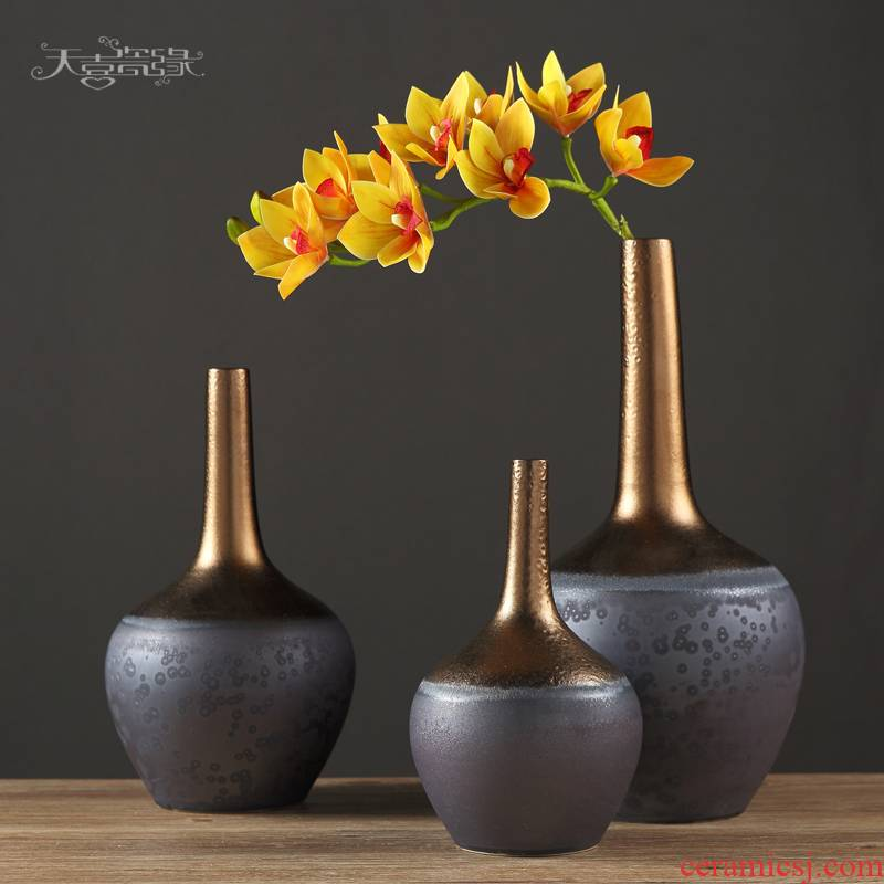 The New Chinese zen rich ancient frame ceramic vase furnishing articles flower arranging the sitting room porch office household soft adornment
