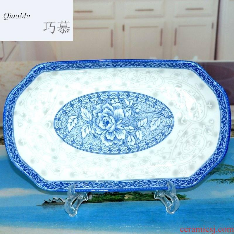 Qiao mu ZHQ jingdezhen blue and white glaze porcelain tableware rectangle color under large fish dish of steamed fish dish dish dish of fish