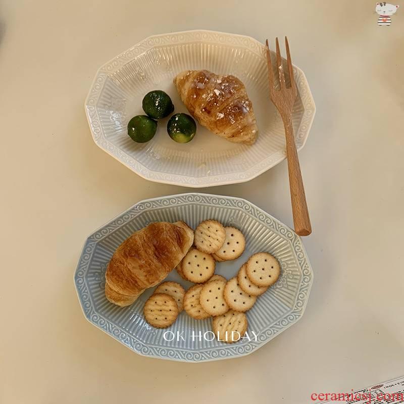 Yu 's ok holiday * ins French diamond disc ceramic polygon salad plate retro vintage for breakfast