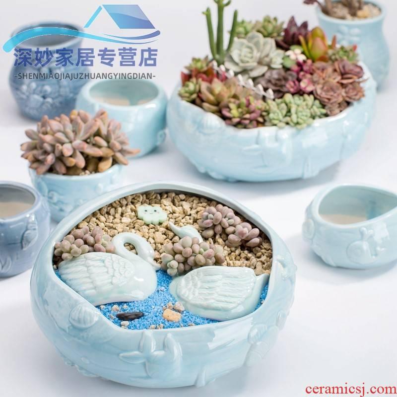 Fleshy flowerpot clearance creative move micro plant landscape of large diameter small lovely home flowerpot ceramics