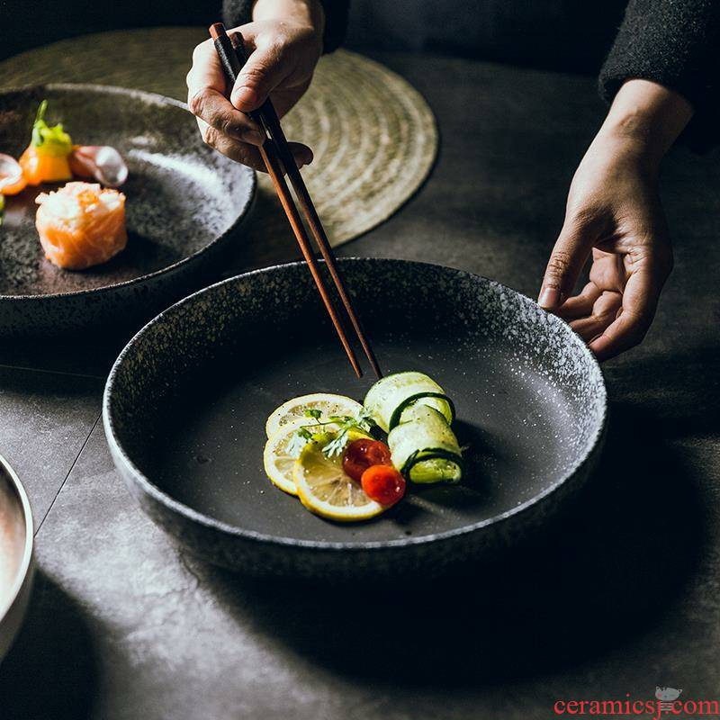 Glaze ceramic dish dish dish dish large hotel plates FanPan circular top grade 1 10 inches a Japanese home
